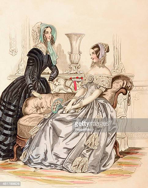 A French vintage fashion illustration featuring two stylish ladies wearing day dresses in a luxurious interior published in Paris on 5th March 1844