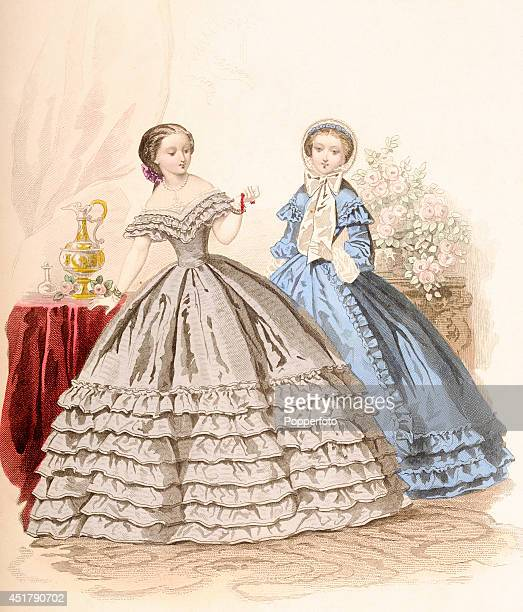 A French vintage fashion illustration featuring two stylish ladies in a sumptuous interior published in Paris circa April 1860