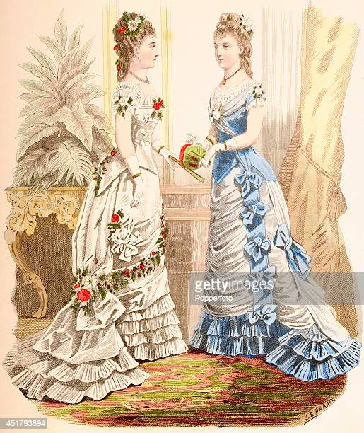 A French vintage fashion illustration featuring two stylish ladies dressed in evening wear in an ornate interior published in Paris circa 1870