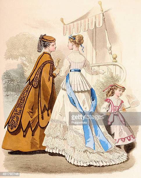 A French vintage fashion illustration featuring two stylish ladies with a young girl holding a butterfly net in a garden setting published in Paris...