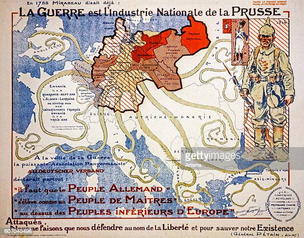 French vintage WWI propaganda map from 1917 showing German invasion as giant octopus during the First World War One