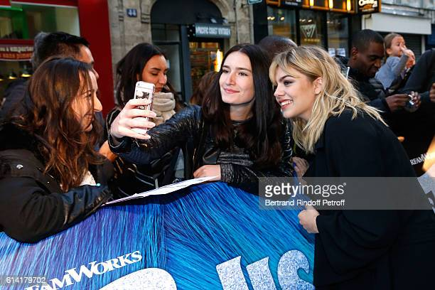 French voice of the movie Louane Emera attends 'Les Trolls' Paris Premiere at Le Grand Rex on October 12 2016 in Paris France