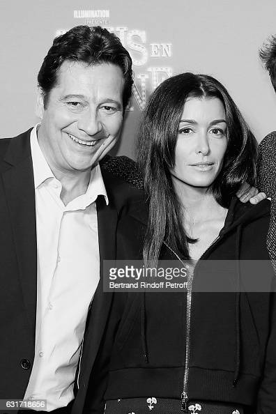 French voices of the movie imitator Laurent Gerra and singer Jenifer Bartoli attend the 'Tous en Scene' Paris Premiere at Le Grand Rex on January 14...
