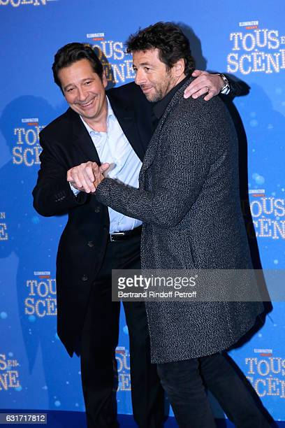 French voices of the movie imitator Laurent Gerra and singer Patrick Bruel attend the 'Tous en Scene' Paris Premiere at Le Grand Rex on January 14...