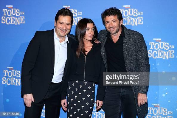 French voices of the movie imitator Laurent Gerra singer Jenifer Bartoli and singer Patrick Bruel attend the 'Tous en Scene' Paris Premiere at Le...