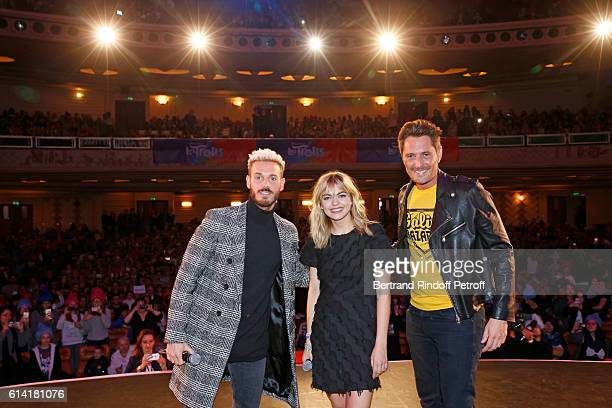French voices of the movie Matt Pokora and Louane Emera with Vincent Cerutti present 'Les Trolls' Paris Premiere at Le Grand Rex on October 12 2016...