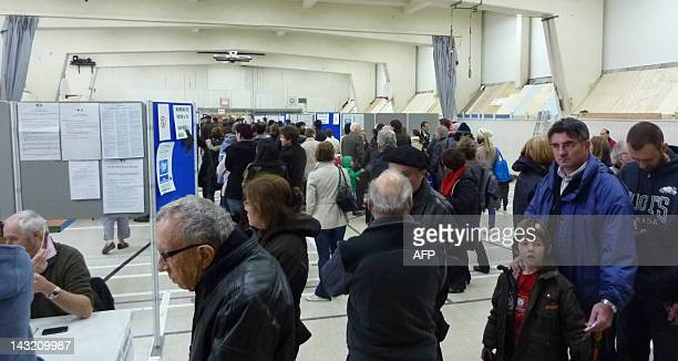 French voters living in Montreal turned in huge numbers on April 21 2012 morning at Collège Stanislas the French school where 20 voting booths were...
