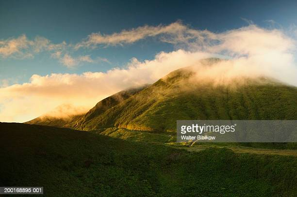 French West Indies, Guadeloupe, mist over La Soufriere Volcano