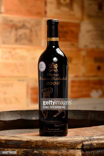 French wine bottle a Chateau Mouton Rothschild 2000 produced in Pauillac from the cellars of the Hotel Matignon the French Prime Minister official...