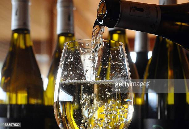 French wine owner and producer Caroline Cassot pours white wine in a glass in Prayssac in the French southwestern wine producing region of Cahors on...