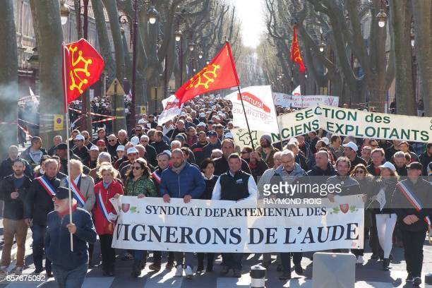 French winemakers march in downtown Narbonne southwestern France on March 25 2017 to protest 'unfair competition' of Spanish wines imports and call...