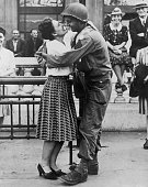 A French woman kisses an American soldier France circa 1944