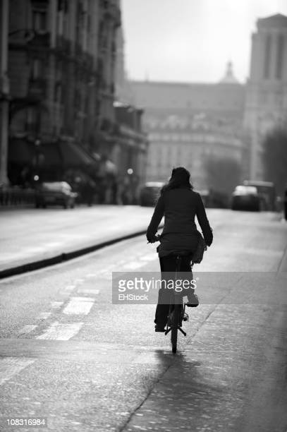 French Woman Riding Bicycle Paris France