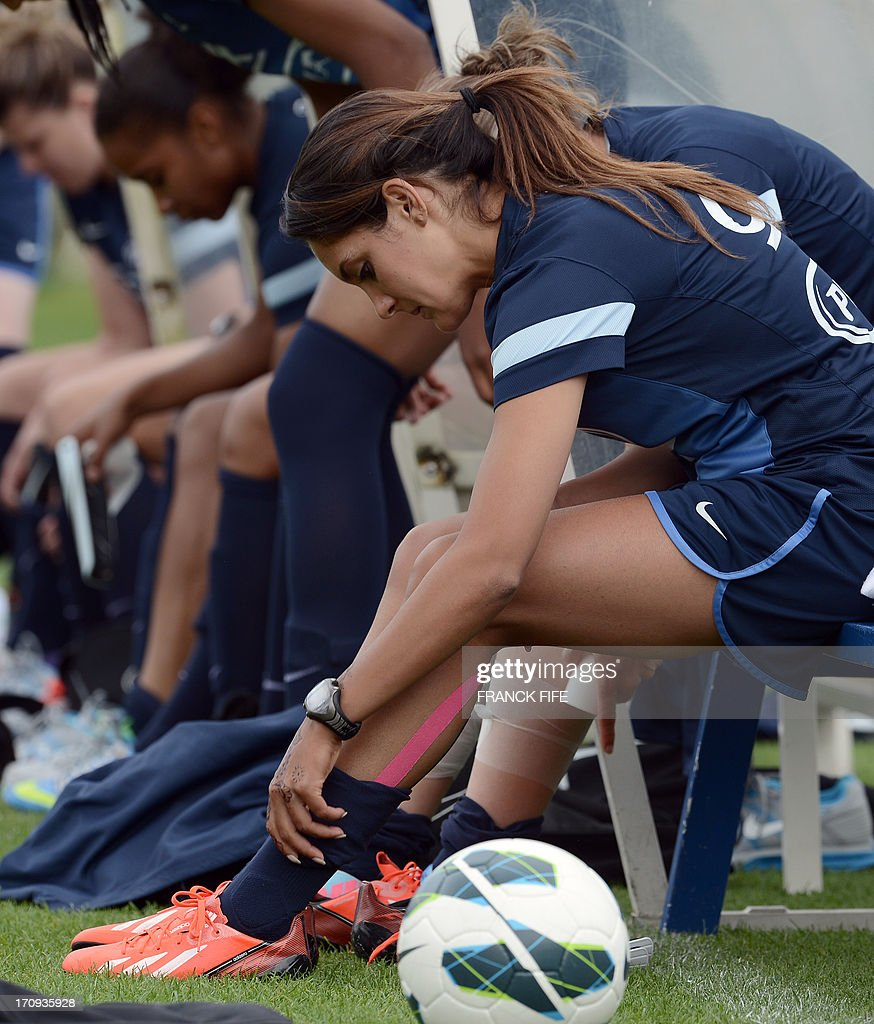 French women's national football team midfielder Louisa Necib gest ready for a training session on June 20, 2013 in Clairefontaine-en-Yvelines, outside Paris, ahead of the July 10 to 28 European Championship in Sweden.