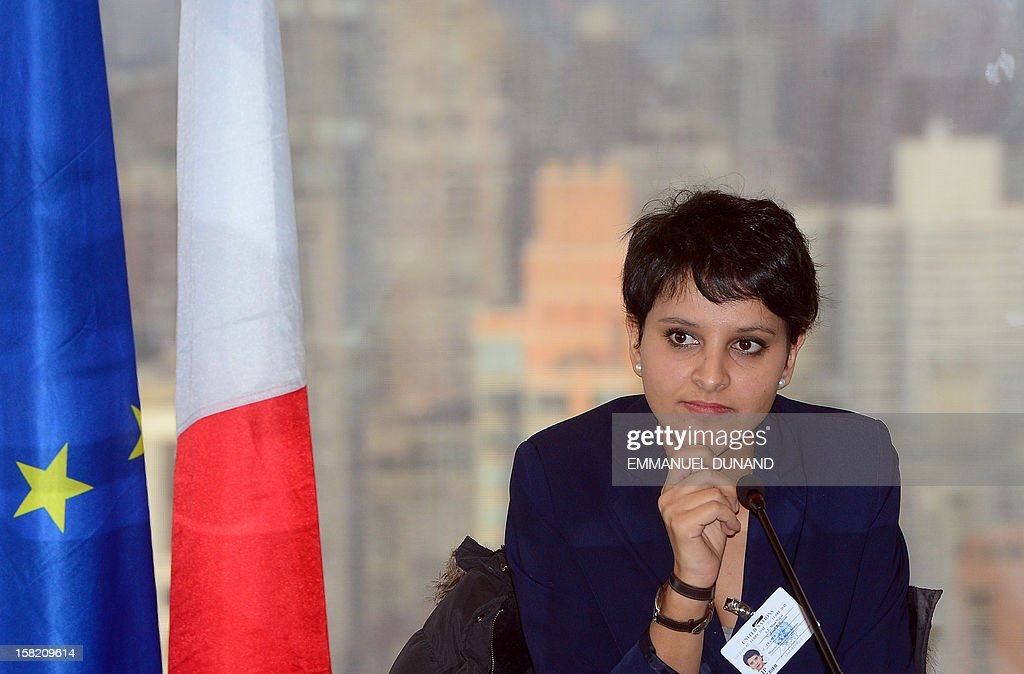 "French Women's Right Minister Najat Vallaud-Belkacem talks to the media at the French UN mission in New York prior to attending a meeting at the United Nations headquarters on December 11, 2012. Vallaud-Belkacem is in New York to attend a meeting on the occasion of Human Rights Day, on the role of ""Leadership in the Fight Against Homophobia."" AFP PHOTO/Emmanuel DUNAND"