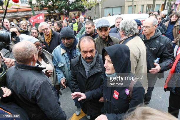French workers' union General Confederation of Labour SecretaryGeneral Philippe Martinez attends a demonstration as part of a nationwide protest day...