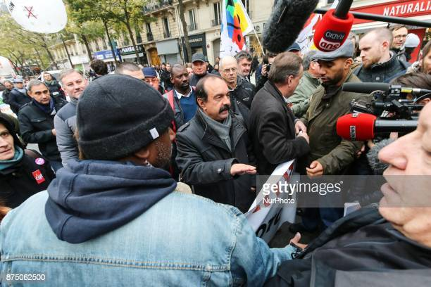French workers' union General Confederation of Labour SecretaryGeneral Philippe Martinez talked to the press during a demonstration as part of a...
