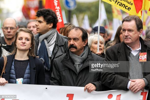 French workers' union General Confederation of Labour SecretaryGeneral Philippe Martinez and s French National Union of Students of France General...