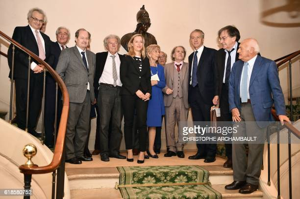 French writer Adelaide de ClermontTonnerre poses with members of the French Academy Amin Maalouf JeanLoup Dabadie JeanMarie Rouart Dominique...