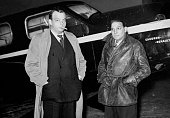 French writer and aviator Antoine de Saint Exupéry and mechanicnavigator André Prévot with their CaudronRenault aircraft at Le Bourget Airport Paris...
