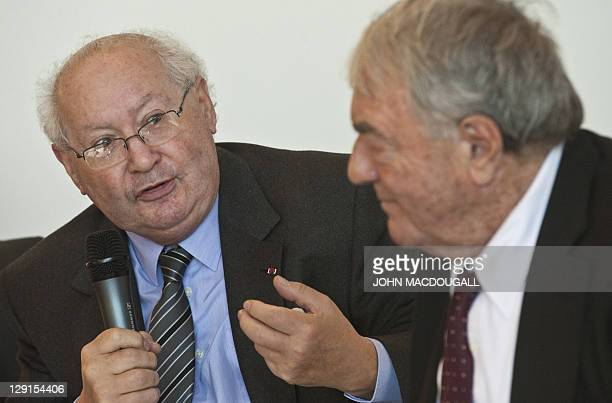 French writer and cinematographer Claude Lanzmann and French Nazi hunter Serge Klarsfeld take part in a presentation of Project Aladdin at the 63rd...