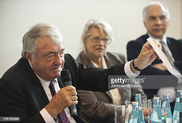 French writer and cinematographer Claude Lanzmann takes part in a presentation of Project Aladdin at the 63rd Frankfurt Book Fair October 13 2011...