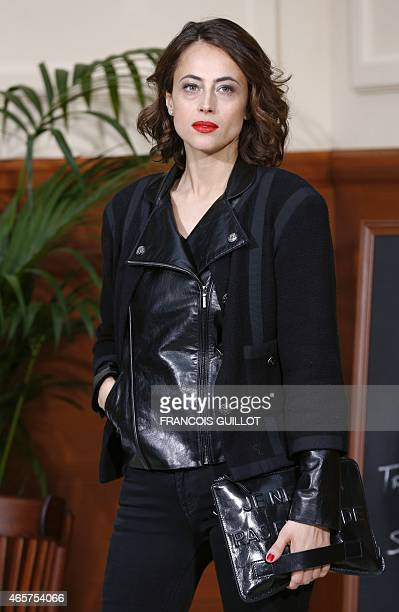 French writer Anne Berest poses before the Chanel 20152016 fall/winter readytowear collection fashion show on March 10 2015 in Paris AFP PHOTO /...