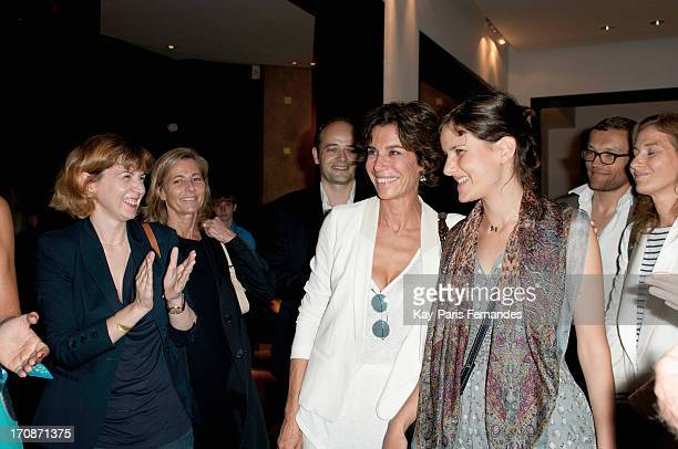 French Writer Christine Orban poses with winner Lise Charles attends the 'Prix du Premier Roman de Femme 8eme Edition' during the 'Montalembert...