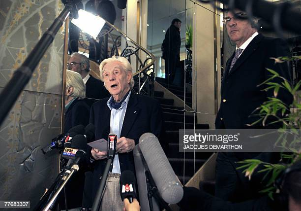 French writer Didier Decoin member of the jury of the French literature prize Prix Goncourt and Andre Brincourt announce the 2007 Prix Goncourt and...