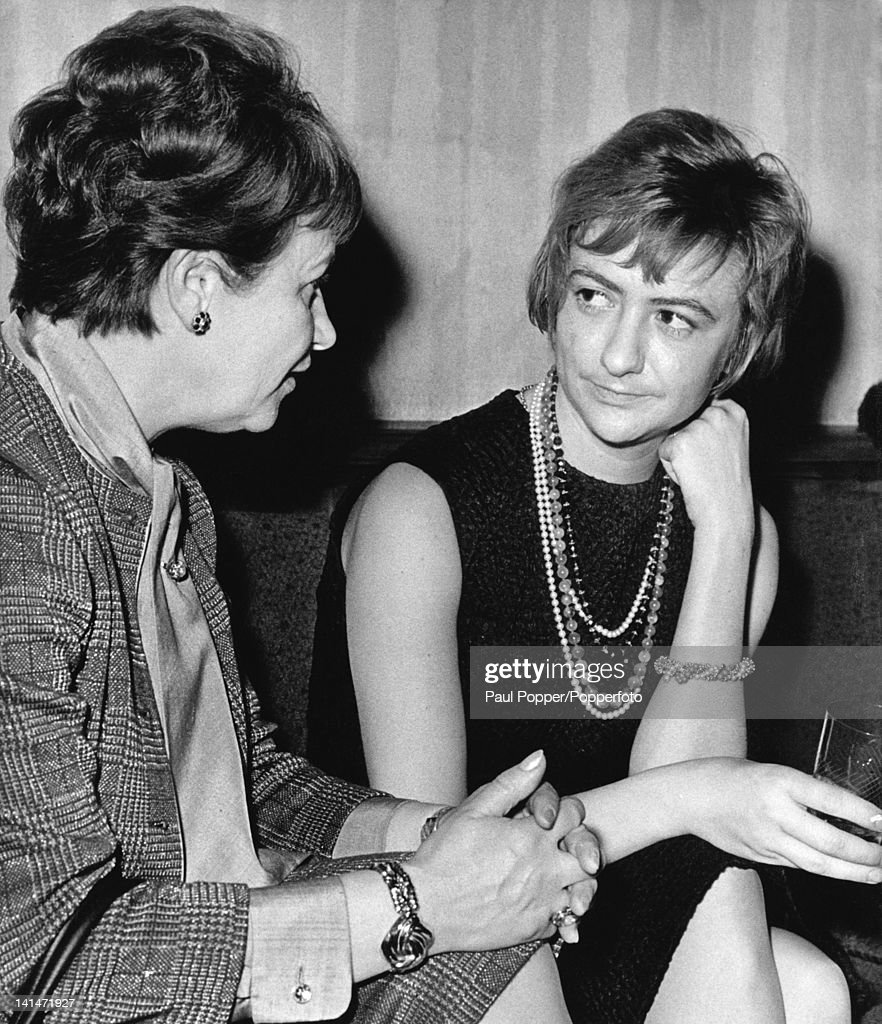 French writer Francoise Sagan (1935 - 2004) in conversation with Hilde Eisler (left), editor-in-chief of 'Das Magazin', during a visit to the German Democratic Republic, 4th February 1965. Sagan is on tour with singer Juliette Greco.