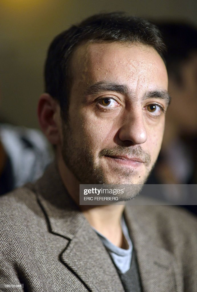 French writer Jerome Ferrari poses after he was awarded with France's top literary prize, the Goncourt for his novel 'Le Sermon de la Chute de Rome' (The Sermon of the Fall of Rome) on November 7, 2012 at the Drouant restaurant in Paris. Himself a philosophy teacher, currently at the French lycee in Abu Dhabi, the French novelist previously taught in the Corsican capital Ajaccio.
