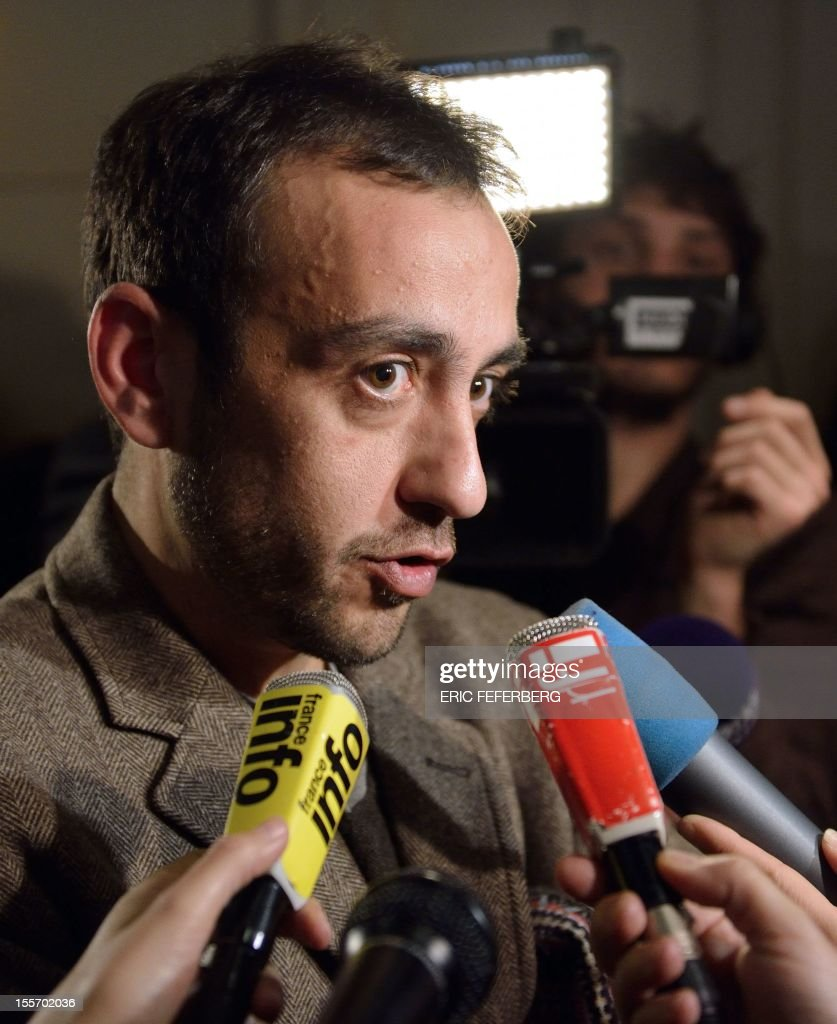 French writer Jerome Ferrari speaks to journalists after he was awarded with France's top literary prize, the Goncourt, for his novel 'Le Sermon sur la Chute de Rome' (The Sermon of the Fall of Rome), on November 7, 2012 at the Drouant restaurant in Paris. Himself a philosophy teacher, currently at the French lycee in Abu Dhabi, the French novelist previously taught in the Corsican capital Ajaccio.