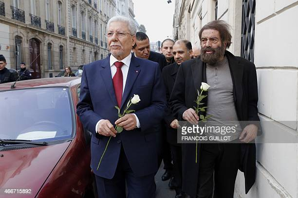 French writer Marek Halter Tunisia's Foreign minister Taieb Baccouche and Imam of the municipal Drancy mosque in SeineSaintDenis Hassen Chalghoumi...