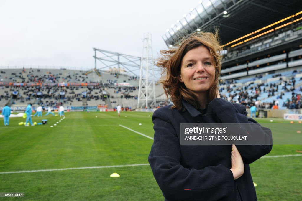 BERNAUDEAU- French writer Maylis de Kerangal poses on January 19, 2013 at the Velodrome Stadium in Marseille, southern France, before a French L1 football match between Marseille and Montpellier. Kerangal will write a story on Marseille football club as part of the inauguration of the cultural event 'Roman-Feuilleton' while the city starts its year as 2013 European Capital of Culture.