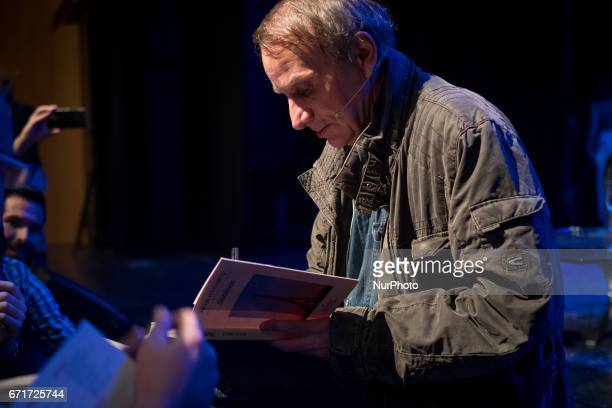 French writer Michel Houellebecq talks about religion in his novels at the Termica in Malaga on April 21 2017 during the quotLa Noche de los...
