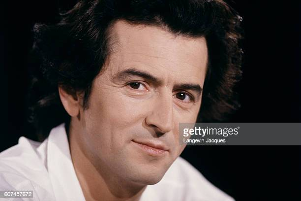 French writer public intellectual philosopher and journalist BernardHenri Levy on the set of the TV program 7 sur 7 hosted by Anne Sinclair