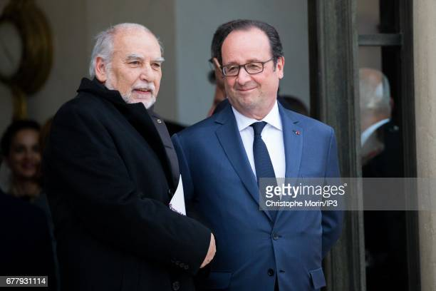 French Writer Tahar Ben Jelloun attends a lunch between French President Francois Hollande and King Mohammed VI of Morocco the latter being came in...