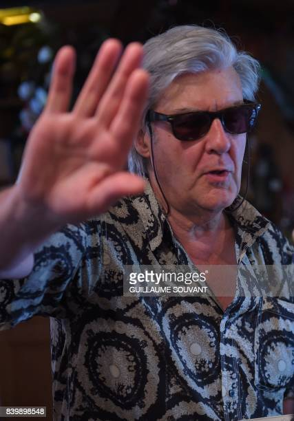 French writerand musician Gerard Manset gestures as he attends the 22th La Foret Des Livres book fair on August 27 2017 in ChanceauxpresLoches...