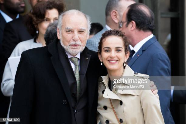 French Writers Leila Slimani and Tahar Ben Jelloun attend a lunch between French President Francois Hollande and King Mohammed VI of Morocco the...