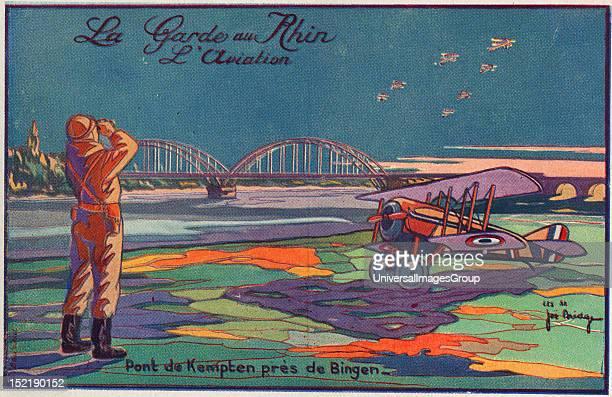 French WWl postcard Kempten bridge World War One