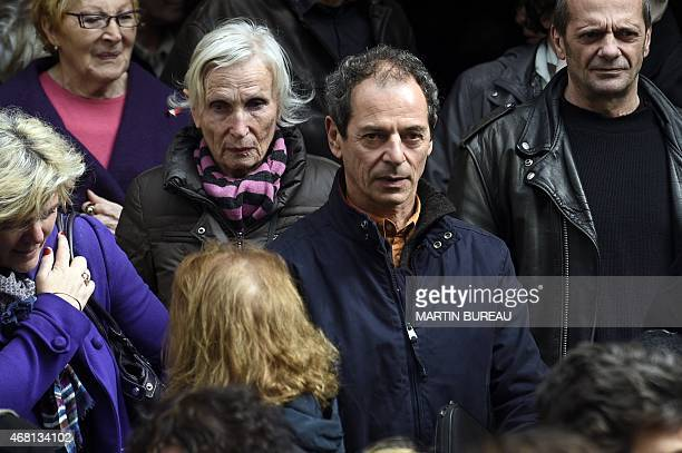 French yachtsman Marc Guillemot leaves SaintSeverin church after the funeral of French sailor Florence Arthaud on March 30 2015 in Paris The funeral...