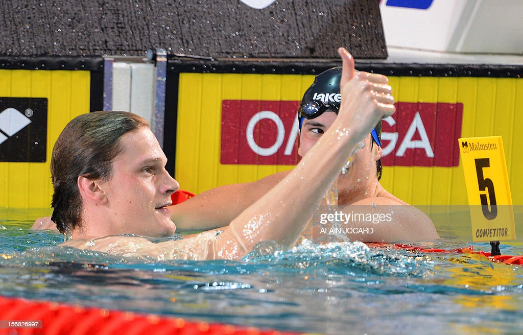 French Yannick Agnel gives the thumb after his victory in the Men's 400m Freestyle as part of the European short course swimming championships on November 22, 2012, in Chartres.