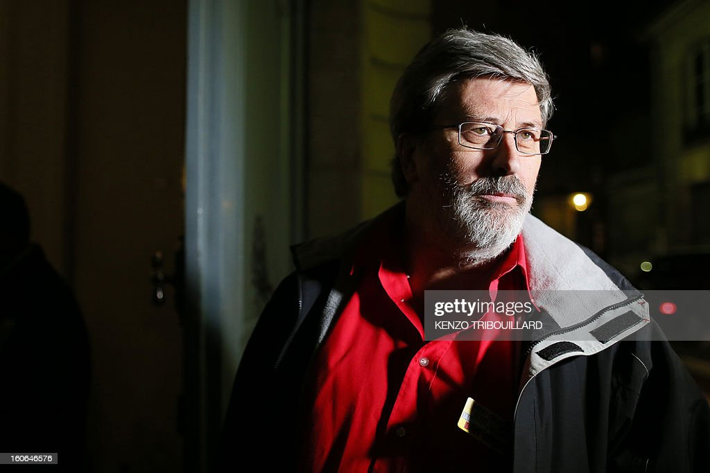 French Yvon Scornet, unions' spokeman of the Petroplus oil refinery, speaks as he arrives for a meeting at the Hotel Matignon, the Prime Minister official residence, in Paris on February 4, 2013. A French court ordered last October the liquidation of Peti-Couronne oil refinery despite two offers for the site that employs 470 people. TRIBOUILLARD