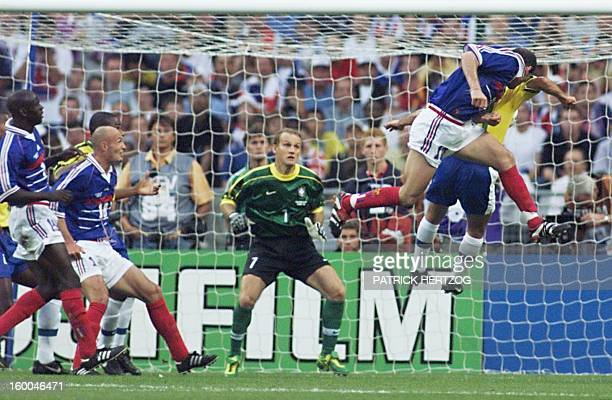 GOAL French Zinedine Zidane heads and scores the first goal 12 July at the Stade de France in SaintDenis near Paris during the 1998 Soccer World Cup...