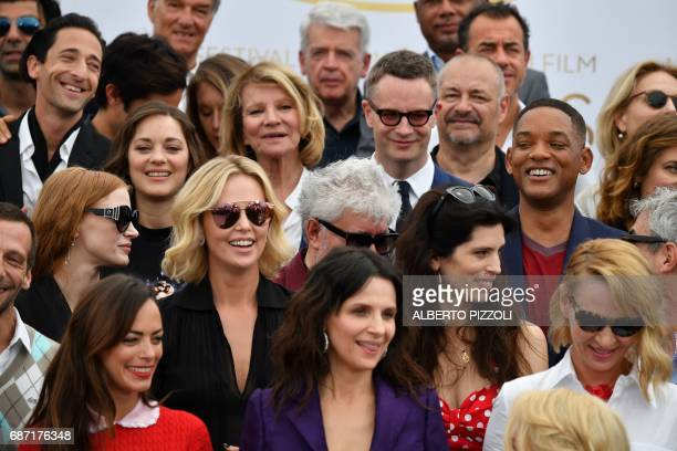 FrenchArgebntinian actress Berenice bejo French actress Juliette Binoche and US actress Uma Thurman US actress and member of the Feature Film jury...