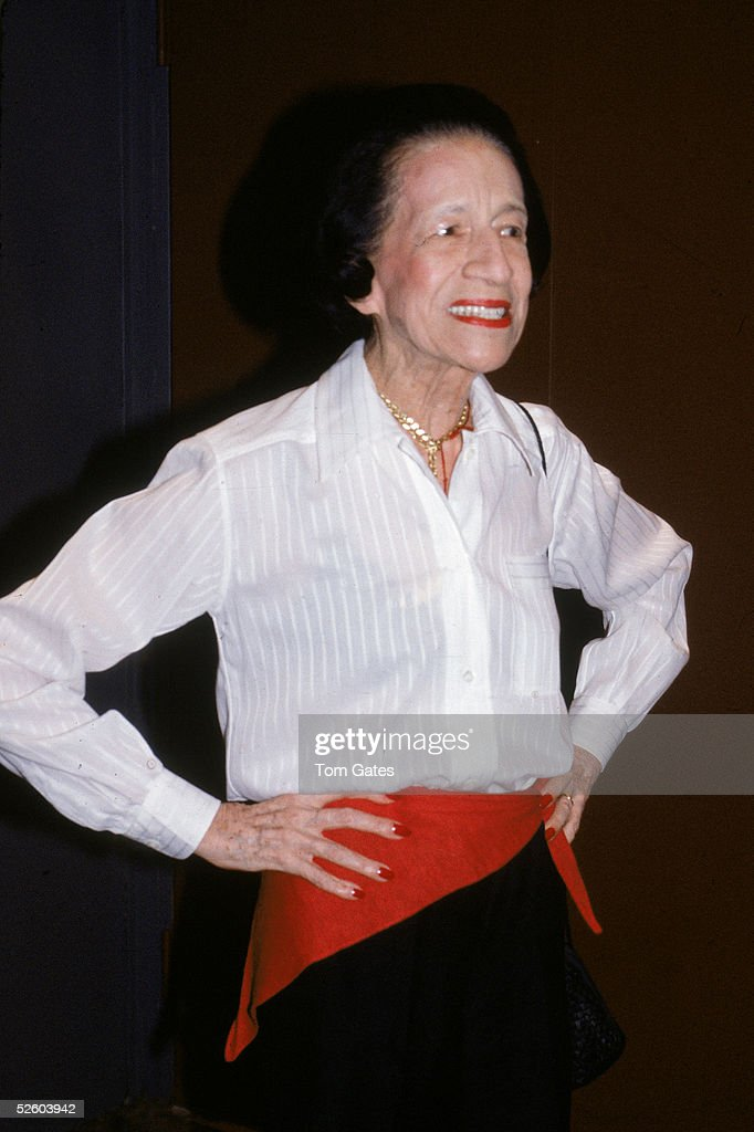 French-born American fashion writer and editor <a gi-track='captionPersonalityLinkClicked' href=/galleries/search?phrase=Diana+Vreeland&family=editorial&specificpeople=6486853 ng-click='$event.stopPropagation()'>Diana Vreeland</a> (1906 - 1989) stands with arms akimbo as she stops during her walk along 44th Street in Manhattan, New York, July 6, 1983.