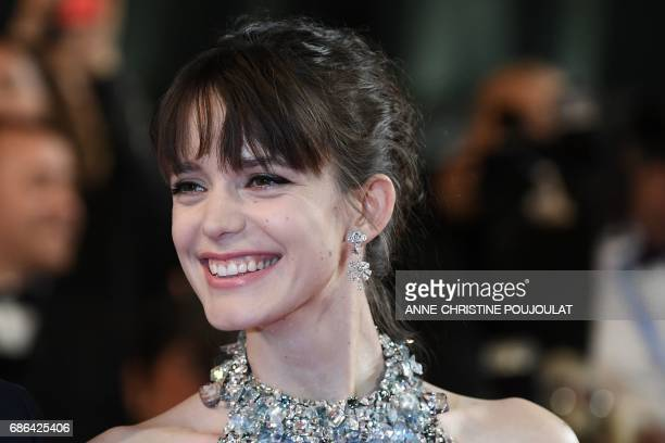 FrenchBritish actress Stacy Martin poses as she arrives on May 21 2017 for the screening of the film 'The Redoubtable ' at the 70th edition of the...