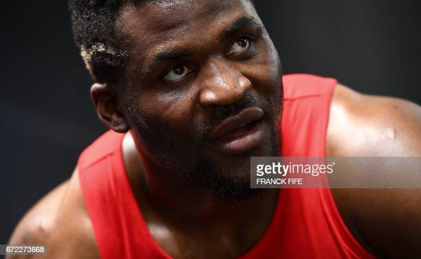 FrenchCameroonian mixed martial artist Francis Ngannou attends a training session at the MMA Factory in Paris on April 21 2017 Born in Cameroon...