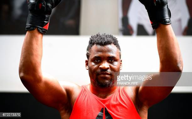 FrenchCameroonian mixed martial artist Francis Ngannou poses during a training session at the MMA Factory in Paris on April 21 2017 Born in Cameroon...