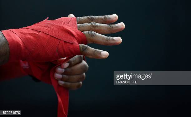 FrenchCameroonian mixed martial artist Francis Ngannou prepares for a training session at the MMA Factory in Paris on April 21 2017 Born in Cameroon...